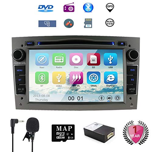 7 Pulgadas Reproductor de DVD y DVD para Auto Navi GPS para Opel Corsa Zafira Antara Astra Soporte GPS Audio Video Bluetooth USB SD SWC FM Am RDS (Gris)