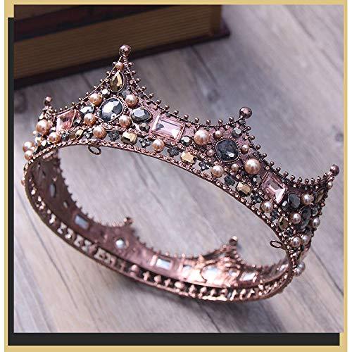 MLDSJQJ New Retro Black Bride Round Full Circle Crown Crown Studio Head Ornaments,Display Image