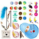<span class='highlight'><span class='highlight'>EXTSUD</span></span> 33Pcs Cat Toys Kitty Toys Assorted, Cat Tunnel Catnip Fish Feather Teaser Wand Fish Fluffy Mouse Mice Balls and Bells Toys Set for Cat, Kitty, Kitten