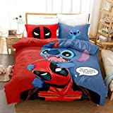 Wusan Lilo & Stitch Kids Bedding Sets for Girls Queen Size Duvet Covers Deadpool Printed Cartoons Kids Gifts Microfiber 1 Duvet Cover + 2 Pillow Shams