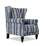 Top Space Accent Chair Sofa with Pine Wood Leg Club Arm Chair Stripe Single Sofa Modern Comfy Furniture for Home Living Room,Office,Bedroom, Print (Stripe Blue)