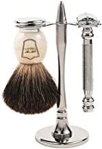 Parker 99R Safety Razor Shave Set - Includes Premium Black Badger Brush, Stainless Steel Stand & Parker 99R Butterfly Open Safety Razor