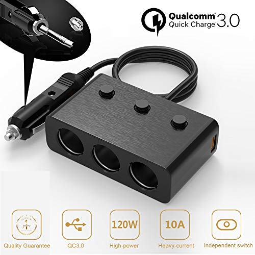 Car Charger Adapter Dual Fast Quick Charge 3.0 USB HUB iPhone 7 Plus 6S 6 X 8 iPad Samsung Galaxy S8 S9 Compatible - 3 Socket Lighter Splitter Cigarette Extender Multi Charging Port Outlet 12V 24V