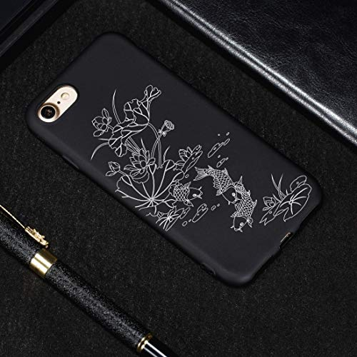 Xyamzhnn Funda telefónica for iPhone 8 & 7 Lotus Pond Pattern Pattern Soft TPU Case