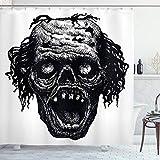 ABAKUHAUS Duschvorhang, Zombie Kopf Böser Toter Mann Porträt Fiktion Kreatur Furchtsame Monster Grafik Digital Druck, Blickdicht aus Stoff inkl. 12 Ringe für Das Badezimmer Waschbar, 175 X 200 cm