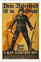 第一次世界大戦の1つの錫サイン金属ポスター(複製)Gefahr、Melde Dichのdein vaterland istMTS - 21050316