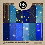 Starry Night Scrapbook Paper (12) 8x8 Inch Double Sided Scrapbooking Pages Book Style: Crafters Delight By Leska Hamaty