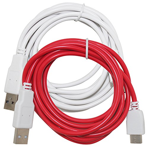 2 Pcs of Charging Cables Compatible NABi Jr, NABi 2S, NABi Dream Tab and NABi XD Tablets, AFUNTA 6.6ft/2m USB Charger Cord - White, Red