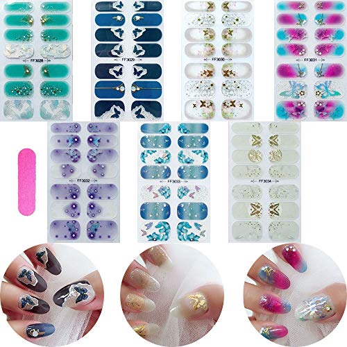 NAIL ANGEL 7pcs Nails Strips Nail Art Wrap Nail Art Full Cover Sticker Butterfly Spring Summer Crystal Designs for Women (10249)