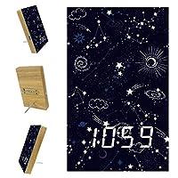 寝室用デジタル目覚まし時計キッチンオフィス3アラーム設定ラジオウッドデスククロック-絵画星空宇宙アート