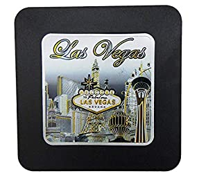Las Vegas Skyline Coaster with Welcome Sign & Eiffel Tower Design | Coaster for Men & Women | Perfect Souvenir Gift Collection from