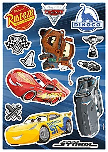 Komar 14052h Deco-Sticker Cars3, Größe 50 x 70 cm (Breite x Höhe), 13 Teile, rückstandsfrei abzulösen und wiederaufklebbar, Made in Germany, Bunt