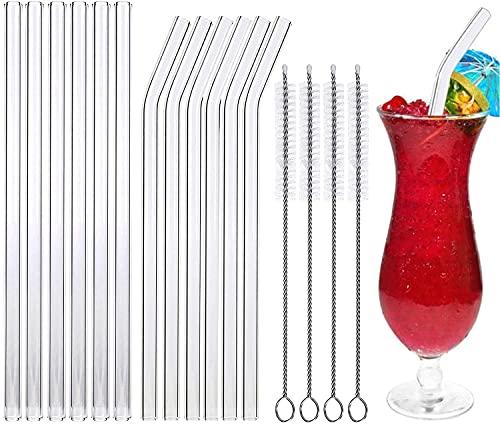 Cannucce vetro,cannucce riutilizzabili e set di cannucce in vetro, 12 cannucce in vetro trasparente con 4 ferri per la pulizia, per cocktail, succhi di frutta
