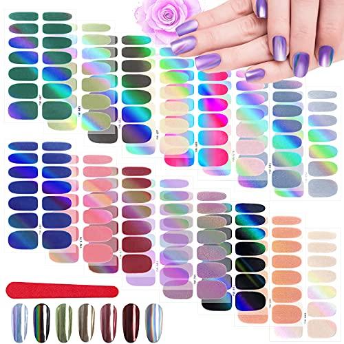 EBANKU 16 Blatt Laser Nagelfolie Selbstklebend, Nagelaufkleber Nagelsticker Nagelkunst Sticker mit Nagelfeilen, Maniküre Sticker Schöne Mode DIY Dekoration