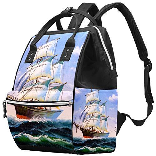 Mochila de viaje para el ocio escolar o barco, multifunción, bolsa de pañales con correa ajustable para hombres, mujeres y niños