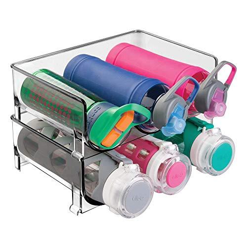 mDesign 2er-Set Flaschenständer – praktisches Flaschenregal zur Aufbewahrung von je 3 Wasser- oder Weinflaschen – stapelbarer Organizer aus BPA-freiem Kunststoff – grau