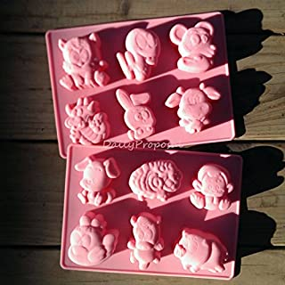 12 Chinese Animal Zodiac Silicone Mold Horoscope Bakeware Baking Cookie Cake Pastry Chocolate Brownie Candy Butter Jello Ice Cream Tray