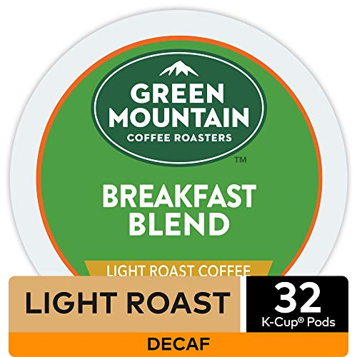 Green Mountain Coffee Roasters Decaf Breakfast Blend , Single-Serve Keurig K-Cup Pods, Light Roast Coffee, 32 Count
