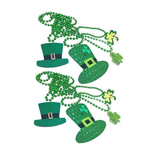 Amosfun 4 st.Patricks Dag Ketting Hoed Hanger Klaver Kettingen Groene Shamrock Sieraden Ierse Partij Gunsten Kostuum Accessoires Willekeurig Patroon
