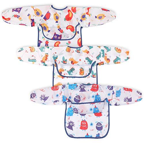 Lictin Lätzchen Baby mit Ärmeln - 3 Stück Lätzchen mit Auffangschale für Babys von 0 bis 24 Monaten, Reversible Entwöhnung Armellätzchen, Unisex BabyLätzchen