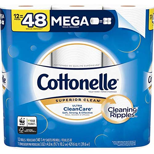 Cottonelle Toilet Paper, Ultra Cleancare, Strong Biodegradable Bath Tissue, 12 Mega Rolls 12 count