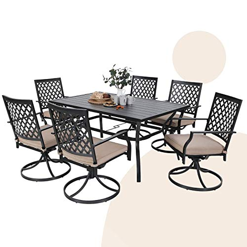 MFSTUDIO 7-Piece Metal Outdoor Patio Dining Furniture Set with 6 Swivel Armrest Chairs and Steel Frame Slat Larger Rectangular Table, Black