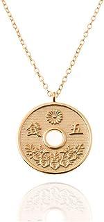 Malizzia Collar Colgante Mujer NIÑA Moneda Japonesa Plata 925 Chapado EN Oro DE 18Kt.