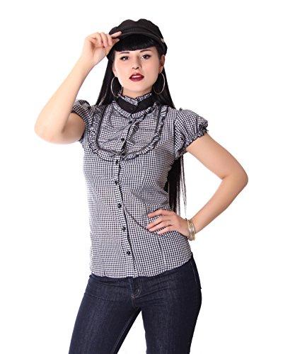 SugarShock Romina Gingham Rockabilly Damen Bluse, Farbe:schwarz Weiss, Größe:S/M (36-38)