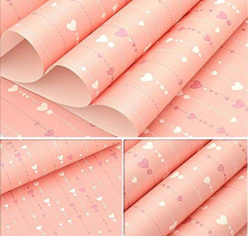 Wall Stickers ZYJ Wallpaper Environmentally Friendly Non-woven Love Bead Curtain Wallpaper Living Room Bedroom Wall Decoration Wallpaper 9.26 (Color : Pink, Size : 53 * 1000cm)