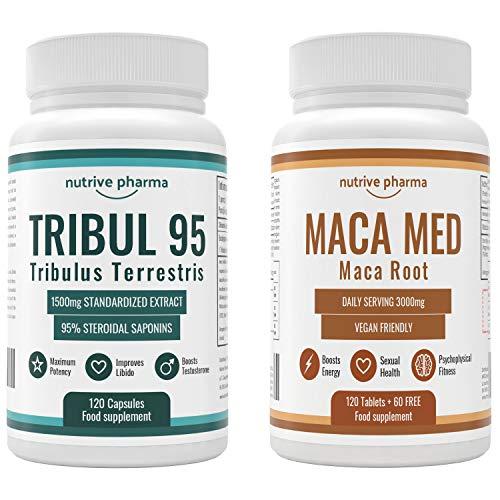 Tribul95® 6000mg & Maca Med® 3000mg pro Tagesdosis - Natürlicher Testosterone Booster Combo