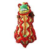 Oncpcare Costume da Drago per Cane o Gatto, Abbigliamento da Danza Leone, Caldo per l'inverno, Capodanno Cinese, Divertente, Giacca con Cappuccio, Abbigliamento per Cani di Piccola Taglia