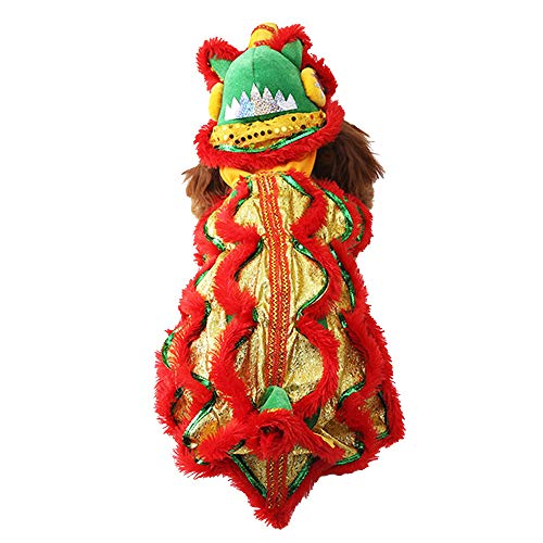 Dragon Cat Dog Costume Lion Dance Clothing, Outdoor Warm Dog Winter Coats Chinese New Year Style Funny Stuff Costume, Pet Hoodie Jacket Outfit Apparel for Small Dogs
