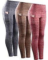Neleus Tummy Control High Waist Workout Running Leggings for Women,9033,Yoga Pant 3 Pack,Red,Grey,Brown,XS,EU S