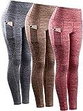 Neleus Tummy Control High Waist Workout Running Leggings for Women,9033,Yoga Pant 3 Pack,Red,Grey,Brown,XL,EU 2XL
