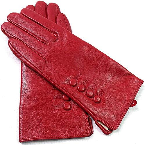 Damen Premium Qualität Original Superweich Leder Handschuhe Kunstpelz Futter Winter Alltag Warm - Rot, L