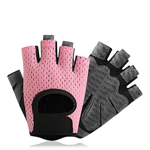 COZOCO Unisex Männer Frauen Yoga Fitness Handschuhe Gewicht Heben Training Fahrradhandschuhe Halbfinger Sport mitten(rosa-2)