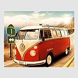 Homedeco-24 Kunstdruck Poster - Volkswagen VW Bulli Bus