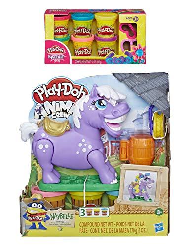 Play-Doh Animal Crew Naybelle Show Pony Farm Animal Play Set + Play Doh Sparkle Compound