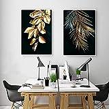 XIAOMA Cuadro abstracto de hojas de plantas doradas, póster de pared, estilo moderno, decoración única, 2 unidades, sin marco (2 unidades de 40 x 60 cm)