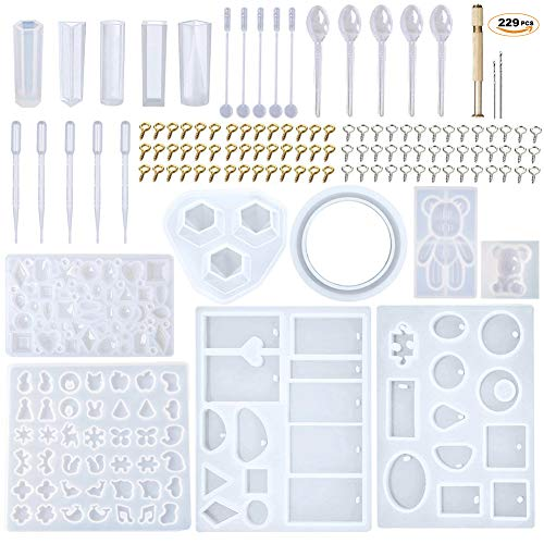EuTengHao 229Pcs DIY Jewelry Casting Molds Tools Set More Than 120 Designs Contains 9 Silicone Jewelry Resin Molds with 70 Designs,1 Earring Molds with 25 Designs,2 Necklace Bear Molds,3 Diamonds Mold