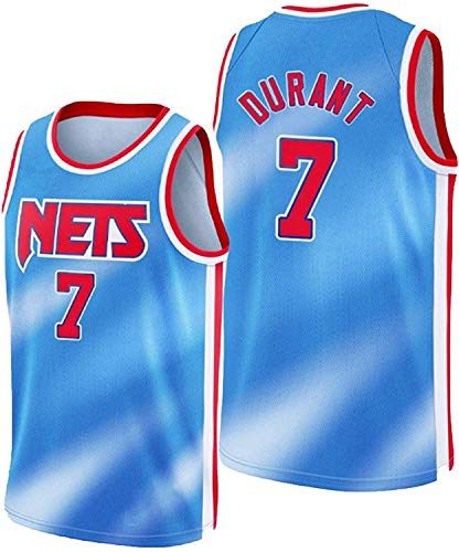 WSWZ Maglie NBA da Basket da Uomo - Brooklyn Nets 7# Maglie NBA Kevin Durant - Maglietta Unisex Comoda da Basket Sportiva Canotta,L(175~180CM/75~85KG)