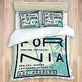 LONSANT Los Angeles California Typography Studio Single Apartment Decorate Decorative Custom Design 3 PC Duvet Cover Set Queen/Full