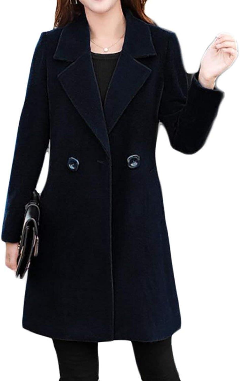 BU2H Women's Winter Long One Button Solid Lapel Pocket Wool Overcoat Blazer
