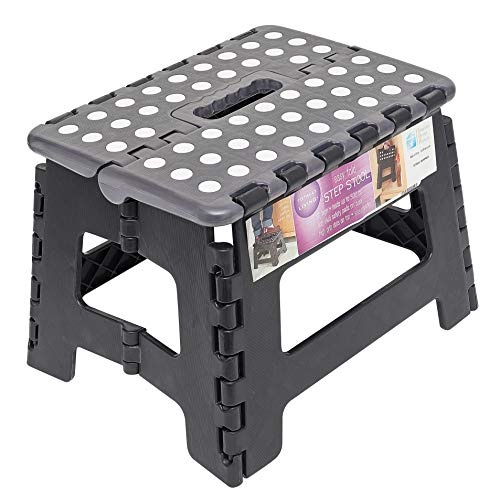 Totally Living 9' Inch Folding Step Stool | Lightweight Anti-Skid & Non-Slip Design | Collapsible Stepping Stool | 300 lb Capacity | Black/Grey