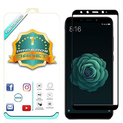 "Película De Vidro Temperado 3D Full Cover Para Xiaomi Mi A2 5.99"" - Proteção Blindada Top Premium Que Cobre Toda A Tela - Danet (Preta)"