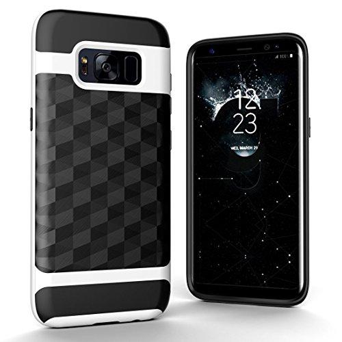 Xyamzhnn Combinación De La Caja For La Galaxia Phong S8 + / G955 3D del Diamante TPU + PC Protectora De La Caja St (Color : White)