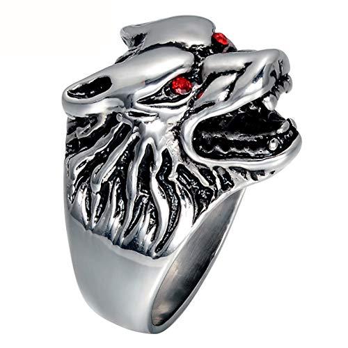 AnazoZ Anillos de Acero Inoxidable Hombre Lobo Anillos para Hombre Cabeza de Lobo con Circonita Roja Plata Anillos para Hombre Talla 17-30