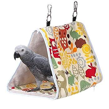 KinTor Nid d'oiseau, abri pour perroquet, tente à suspendre pour petits perroquets, perruches, éclectus, calopsittes, inséparables, gris d'Afrique (M-10,6 x 6,3 x 7,5, jaune hibou)
