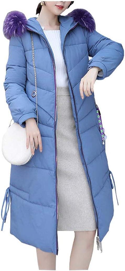 Women Long Down Coat Fur Collar Hooded Bakery Oversize Winter Slim Outerwear Thick Warm Big Pocket Down Jacket