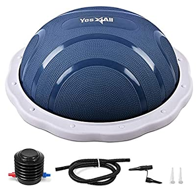 Yes4All Half Balance Ball/Half Yoga Ball Balance Trainer with Foot Pump for Balance Training (Blue/Light Gray)
